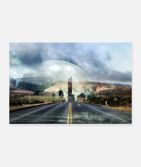 Space Posters - Space Road, Galaxy Fata Morgana Ci Science Fiction - Posters white