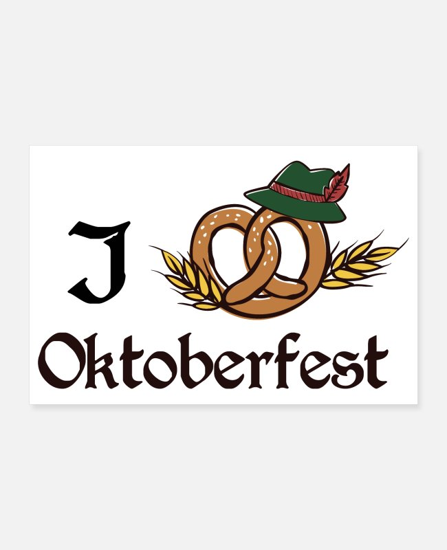 Reminder Posters - I love Oktoberfest brezel at traditional Giftidea - Posters white