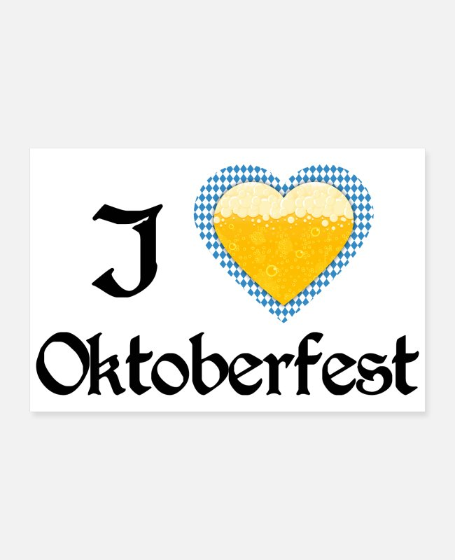 Reminder Posters - I love Oktoberfest Bavarian blue beer heart - gift - Posters white