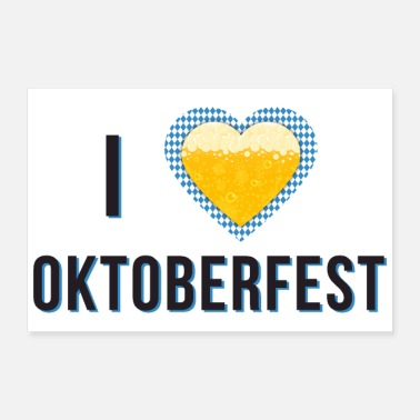 Bavaria I love Oktoberfest Bavarian blue beer heart new - Poster