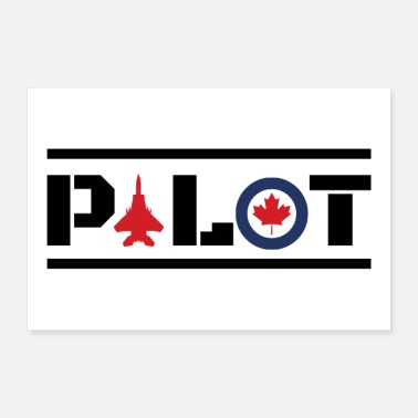 Canada Aircraft Nose Art Pilot Canada Maple Leaf -Gift - Poster 12x8
