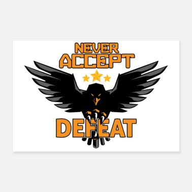 Challenge Accepted Army military Eagle Stars Never Accept Defeat Gift - Poster