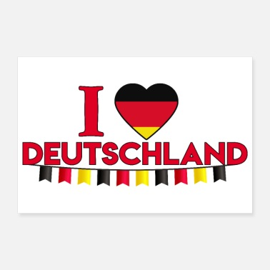 Country I love Deutschland I love Germany Garland - Poster