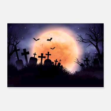 Scenery Diabolical Cemetery and Full Moon - Poster