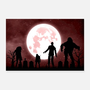 Zombie Zombies in the cemetery - Poster 12x8