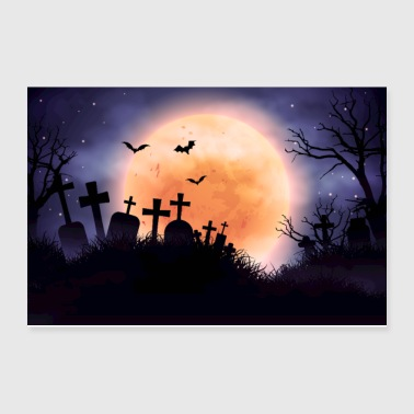 Evil Cemetery and Full Moon - Poster 12x8