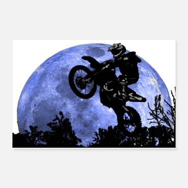 Race Track Motorcycle and the moon - Poster