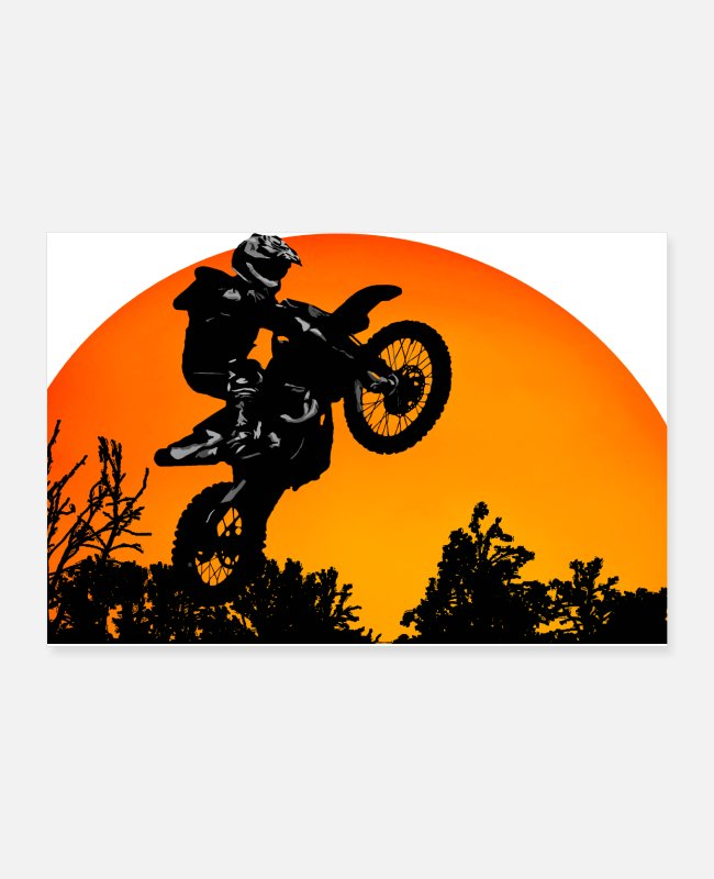 Wheel Posters - Motorcycle Sunset - Posters white