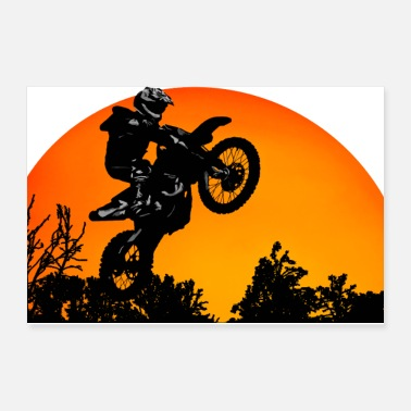 Motor Motorcycle Sunset - Poster