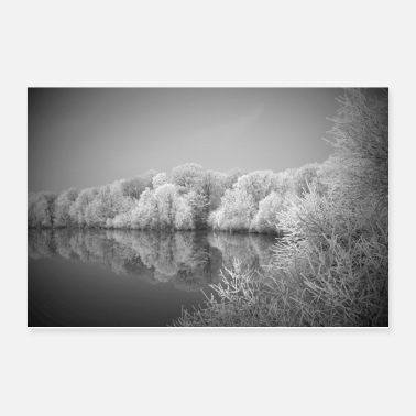 Lake Winter Iced Forest Lake Scenery Gift - Poster 12x8
