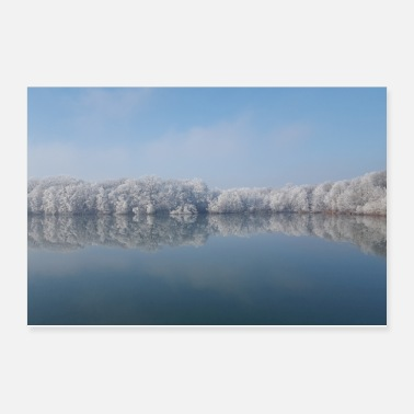 Lake Winter Iced Forest Lake Scenery IV Gift - Poster 12x8