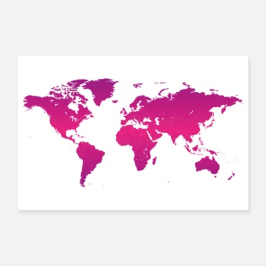 Country World map earth continents countries - Poster 12x8