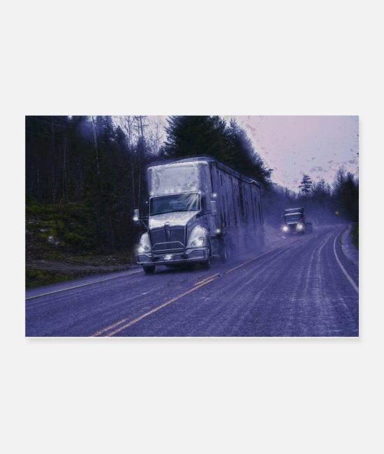 Hauling Posters - The Forest Route - Trucker Art - Posters white