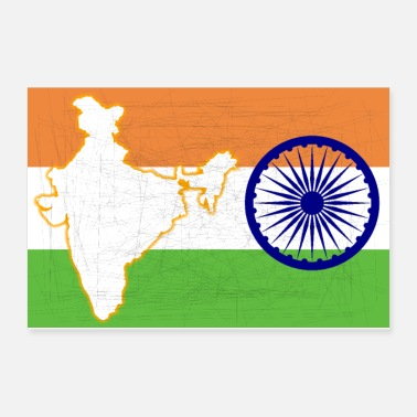 India India Flag and Map - Poster