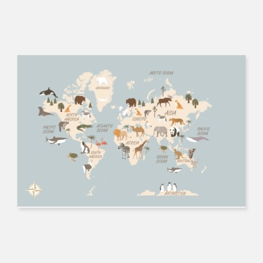 Continent World Map With Animals EN - Poster