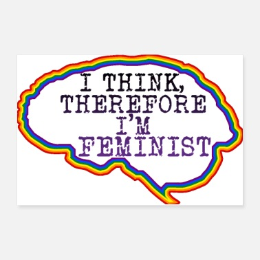 Silhouette Brain: I think, therefore I am a feminist - Poster