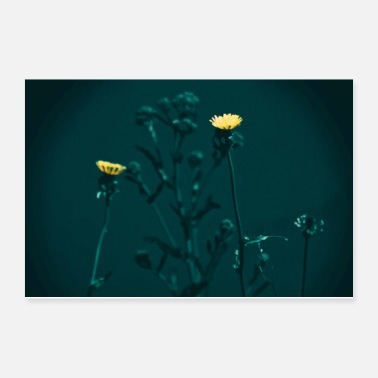 Yellow flower at night painting - Poster