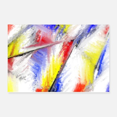 Red Yellow Blue Abstract Art - Red Blue Yellow Oil Colors - Poster