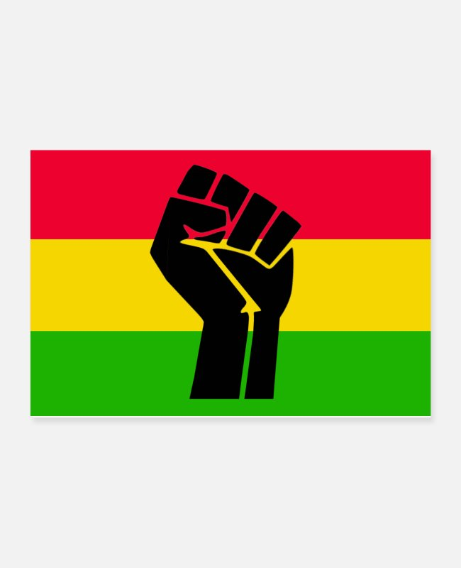 Gold Posters - Black Fist - Black Lives Matter - Rasta version - Posters white
