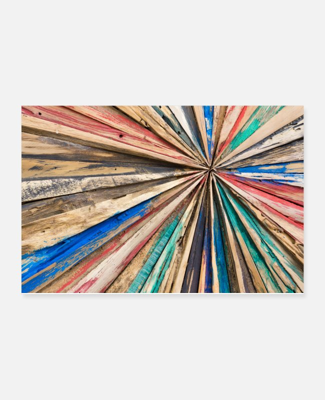 Design Posters - Starlike wood planks. Colorful Painted Wood Wall - Posters white