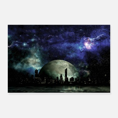 Fiction Space Nebula Galaxy City - Science Fiction - Poster