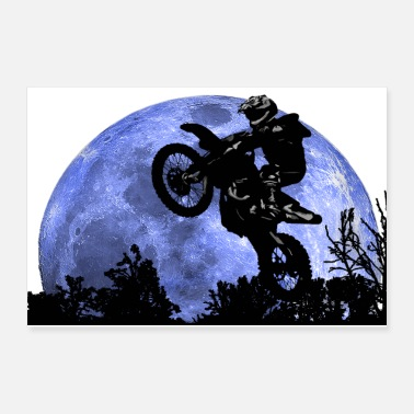 Racing Motorcycle Motorcycle and the moon - Poster
