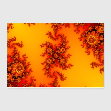 Colorful Fire Fractal with intricate swirls - Poster 12x8