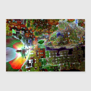 Green Alien Fractal Cube World - Poster 12x8