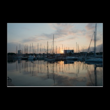 Barcelona harbour sunrise - Poster 12x8