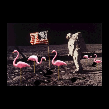 Neil Armstrong And Flamingos on The Moon - Poster 12x8