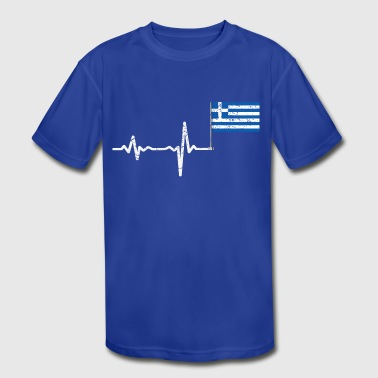 Heartbeat Greece flag gift - Kid's Moisture Wicking Performance T-Shirt