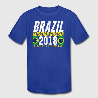 BRAZIL BRASIL WORLD CUP 2018 FAN SHIRT GRUNGE LOOK - Kid's Moisture Wicking Performance T-Shirt