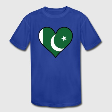 Pakistani Flag Heart - Kid's Moisture Wicking Performance T-Shirt