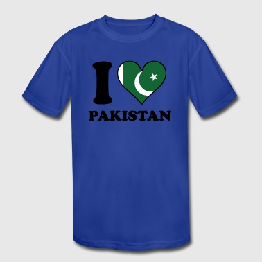 I Love Pakistan Pakistani Flag Heart - Kid's Moisture Wicking Performance T-Shirt