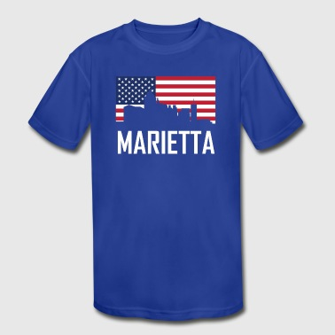 Marietta Georgia Skyline American Flag - Kid's Moisture Wicking Performance T-Shirt