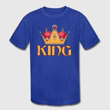 red gold king crown - Kid's Moisture Wicking Performance T-Shirt