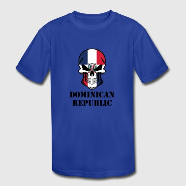 Dominican Flag Dominican Flag Skull Dominican Republic - Kid's Moisture Wicking Performance T-Shirt