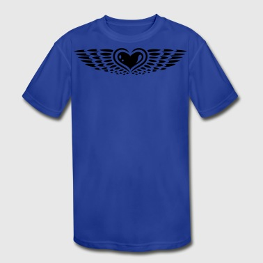Heart with wings. Winged heart. - Kid's Moisture Wicking Performance T-Shirt