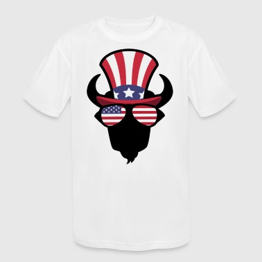 Buffalo Happy 4th Of July - Kid's Moisture Wicking Performance T-Shirt