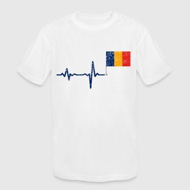 Heartbeat Romania flag gift - Kid's Moisture Wicking Performance T-Shirt