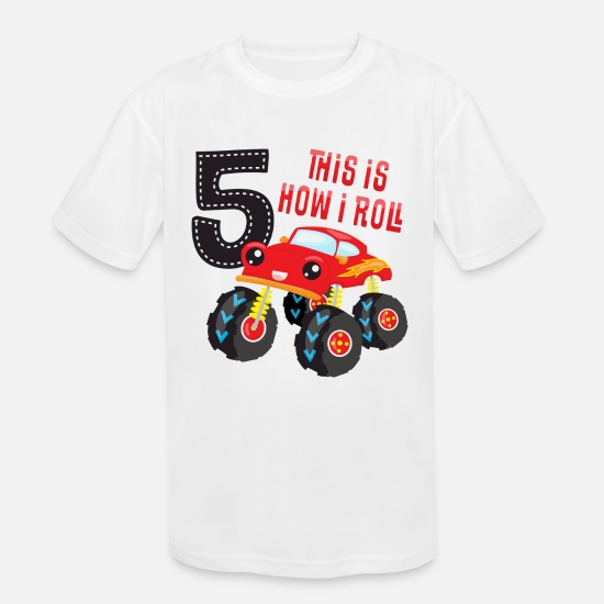 Number T-Shirts - Monster Truck How I Roll 5th Birthday - Kids' Sport T-Shirt white