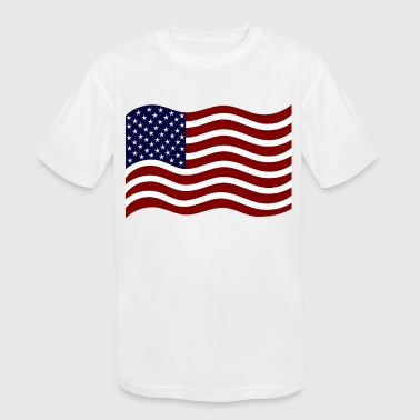 4th of July - Wavin' American Flag - Kid's Moisture Wicking Performance T-Shirt