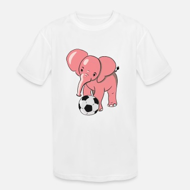 Pink Soccer Pink Elephant playing soccer - Kids' Moisture Wicking Performance T-Shirt