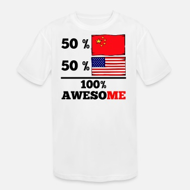 Half Chinese Half Chinese Half American 100% Awesome - Kids' Moisture Wicking Performance T-Shirt