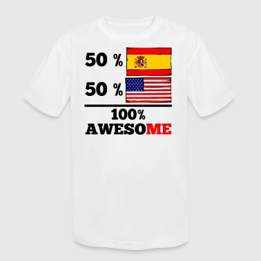Half Half Spain Half American Half American Half Spanish Half American 100% Awesome - Kids' Moisture Wicking Performance T-Shirt