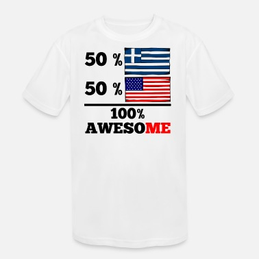 Half Greek Half Greek Half American 100% Awesome - Kids' Moisture Wicking Performance T-Shirt