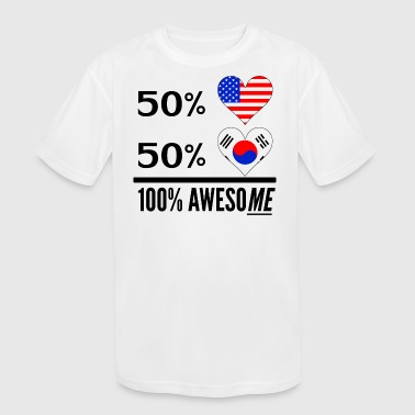 Half Korean Half American Half Korean 100% Awesome - Kids' Moisture Wicking Performance T-Shirt