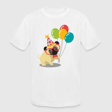 Funny pug with birthday elements - Kid's Moisture Wicking Performance T-Shirt