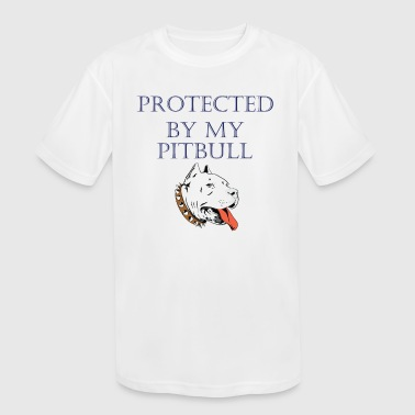 Protected by My Pit Bull Mens Short-Sleeve T-shirt - Kid's Moisture Wicking Performance T-Shirt