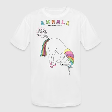 Yoga Horse Fart Hands To Feet Unicorn Outline - Kid's Moisture Wicking Performance T-Shirt